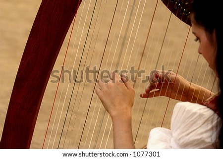 Musician is playing harp
