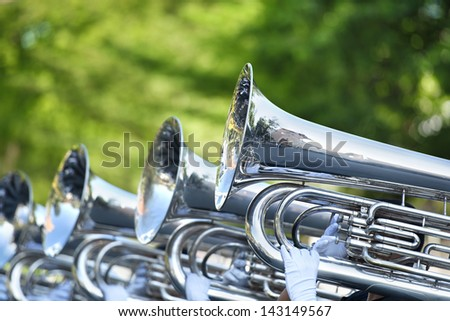 Musician play marching Tuba