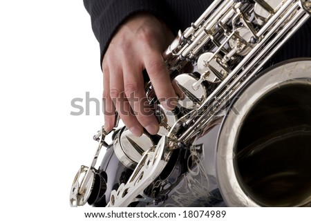 Musician playing a saxophone isolated on white