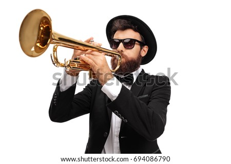Musician playing a trumpet isolated on white background Сток-фото ©
