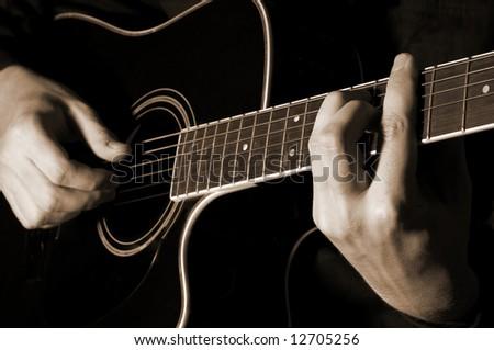 Musician Playing Guitar Stock Photo 12705256 : Shutterstock