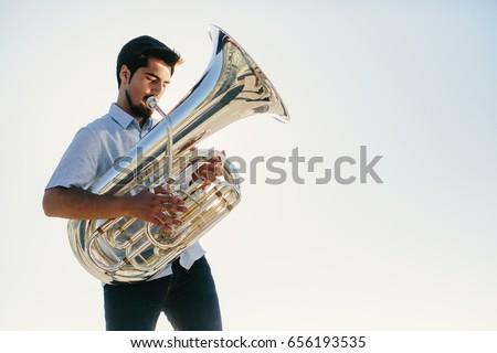 musician playing tuba  Сток-фото ©