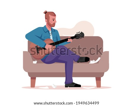 Musician plays guitar, writes music isolated guitarist sitting on sofa with musical instrument. flat cartoon character with acoustic string guitar, compose or sing sons, band player Foto stock ©