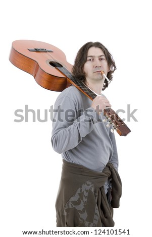 musician with a acoustic guitar, isolated