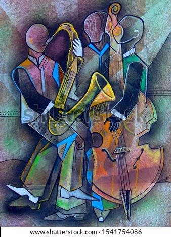 Musicians Cubism portrait. Picasso Style painting.