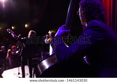 Musicians entertain people in night club. An over the shoulder view of a cellist playing on stage during a music ensemble inside a bar, a guitarist and singer are seen blurred with fans in background.