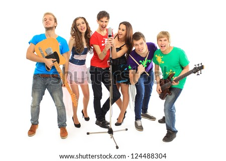 musicians group playing musical instruments in a concert isolated on white background