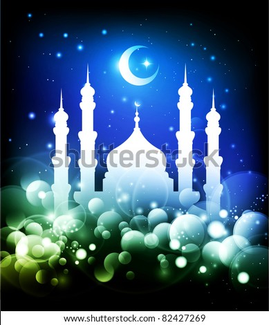Muslim background - Ramadan night with mosque & moon - Raster Version
