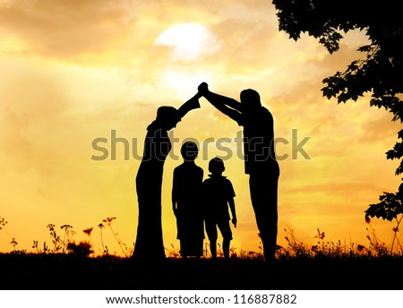 Muslim family home together
