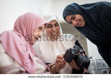 Muslim female three generations family