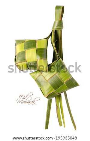 Muslim Ketupat Rice Dumpling with Clipping Path Translation Eid Mubarak Blessed Feast