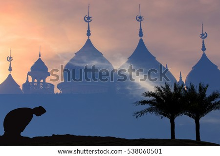 Muslim men silhouette blurred background, mosque blurred background,Concept of Islam is the religion,