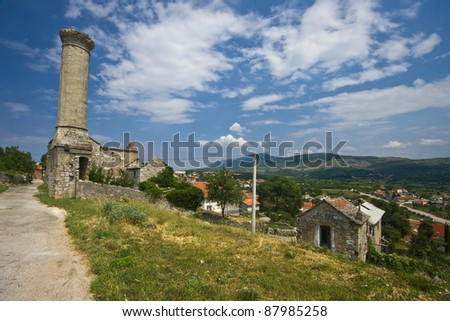 Muslim minaret in Drnis with landscape panorama
