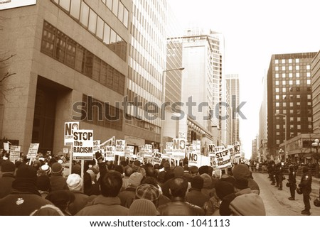 Muslim protest and protestors with picket signs 4 - stock photo
