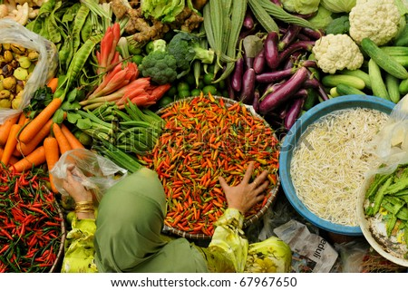 Muslim woman selling fresh vegetables at market in Kota Bharu Malaysia