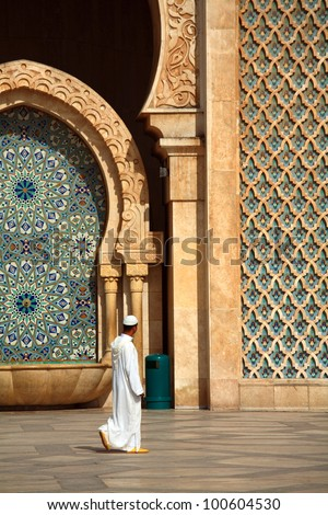 Muslim worshiper during holiday near the Hassan II Mosque in Casablanca Morocco