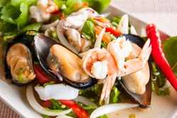 mussel and shrimp mix in yummy asian style