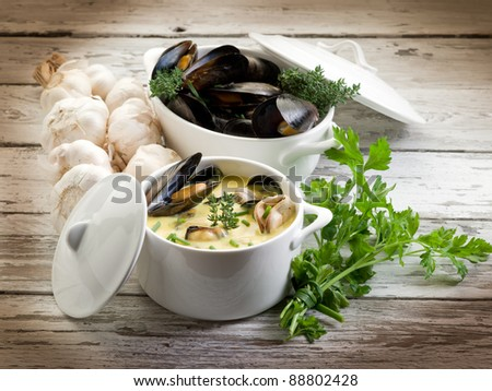 Mussel Soup With Saffron And Cream Sauce Stock Photo ...