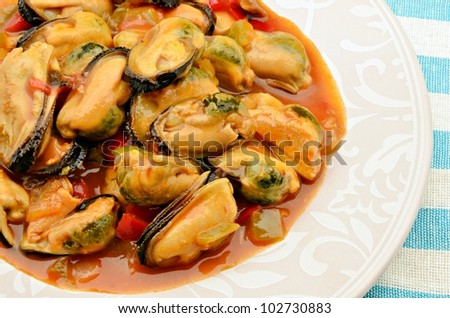 Mussel stew with seafood typical of Galicia, Spain