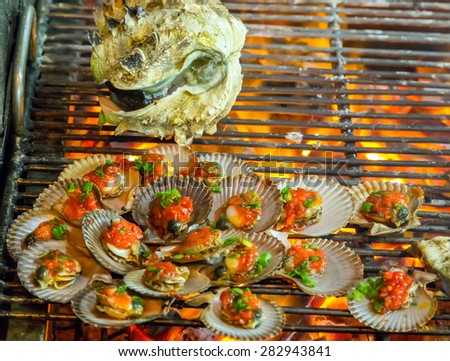 mussels Barbecue Grill cooking seafood. background eat Restaurant