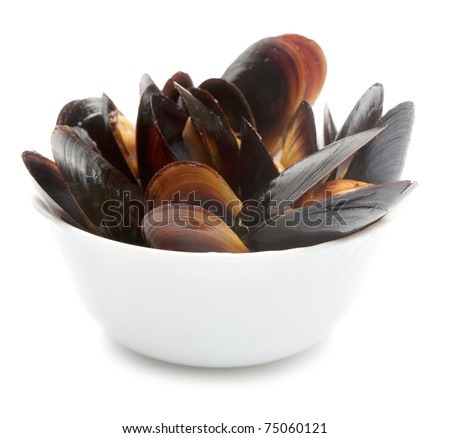 Mussels in white dish
