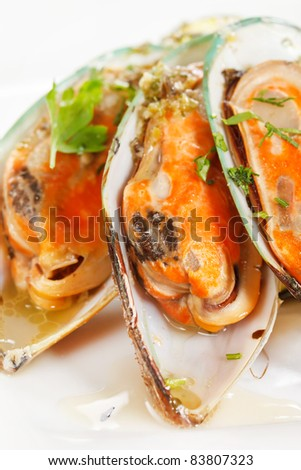 mussels with zucchini - stock photo