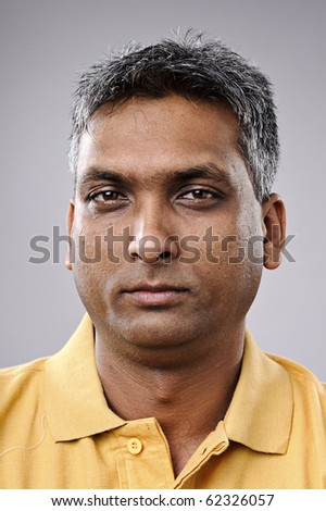 Must see full size, great detail on Indian man portrait - stock photo