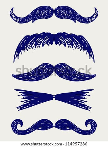 Mustache. Doodle style. Raster version
