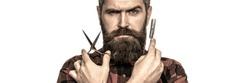 Mustache men. Beard macho man. Bearded man, bearded male. Portrait beard man. Barber scissors and straight razor, barber shop.