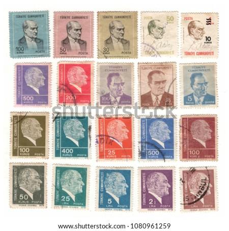 Mustafa Kemal Atatürk vintage postage stamp set #1080961259