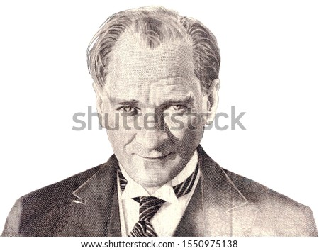 Mustafa Kemal Ataturk - first president of Turkey. Portrait photography made with old turkish banknote and isolated on white.