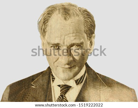 Mustafa Kemal Ataturk - first president of Turkey. Portrait photography made with turkish banknote