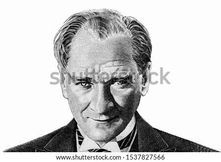 Mustafa Kemal Ataturk, Portrait from Turkey Banknotes.