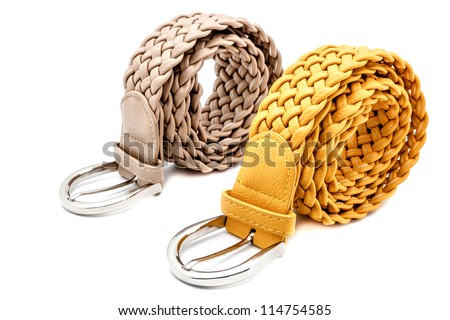 Mustard and grey women belts on a white background