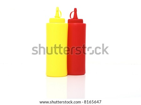 mustard and ketchup bottle isolated against white background