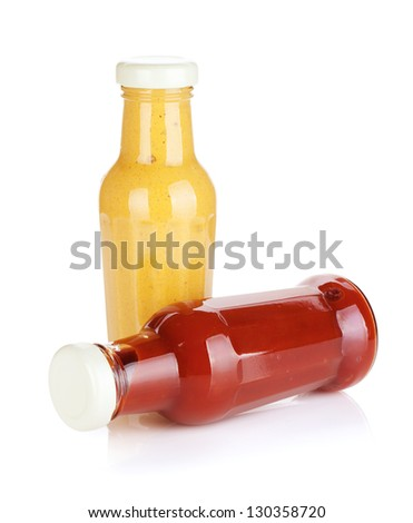 Mustard and ketchup glass bottles. Isolated on white background