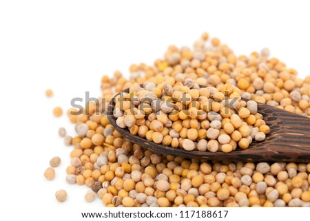 mustard in a wooden spoon - stock photo