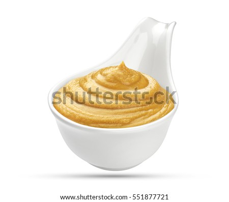Mustard in bowl isolated on white background #551877721