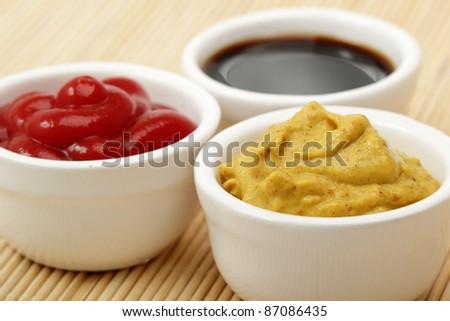 Mustard, Ketchup, Soy Sauce - stock photo
