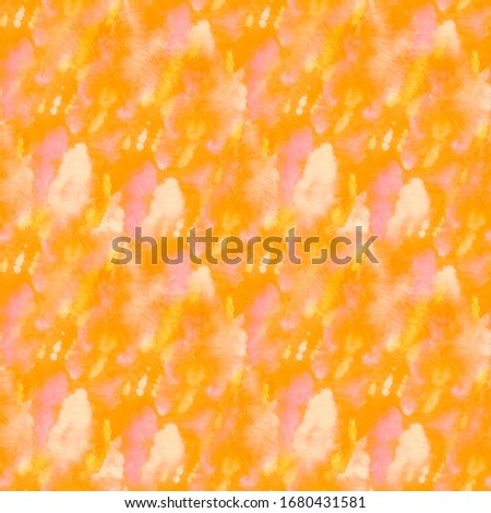 Mustard Ornamental Lush Lava Tie Dye Effect. Dirty Art Painting. Summer Seamless Amber Watercolor Brush Stroke. Yellow Endless Pumpkin Liquid Color Design.