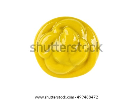 Mustard sauce on a white background #499488472