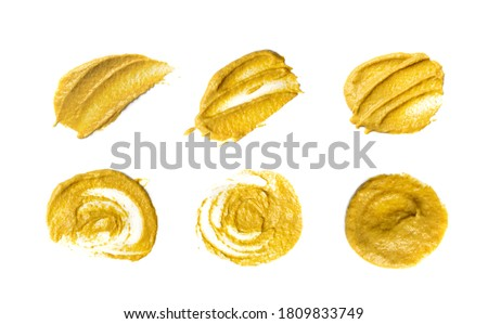 Mustard sauce splash isolated. Dijon honey mustard smeared cream set, liquid dressing, puddle, stain, drops, spread or splatter collection cut out Сток-фото ©