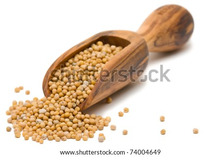 Mustard seeds in wooden scoop over white background