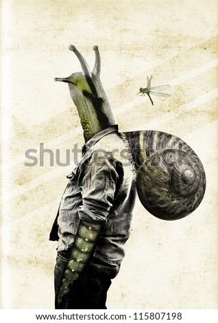 Mutant Snail man. Copy space. Photomontage. Collage. Half human, half snail.