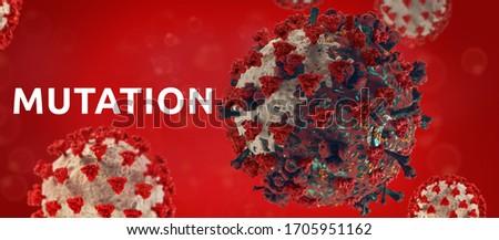 mutation of virus cell symbolic concept of COVID-19 mutated Coronavirus 3d-illustration Stock fotó ©