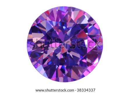 Muticolored diamond on white. - stock photo