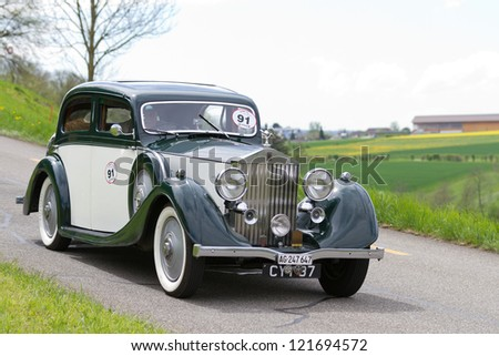 mutschellen switzerland april 29 vintage pre war race car rolls royce 25 30 from 1936 at grand. Black Bedroom Furniture Sets. Home Design Ideas