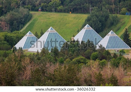 Muttart conservatory in summer, edmonton city, alberta