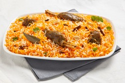 mutton biriyani isolated on white background