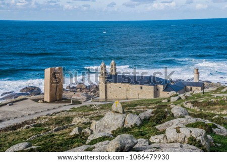 MUXÍA, FISTERRA, COSTA DE LA MUERTE, A COURUÑA, GALICIA, SPAIN: 'Nosa Senora de la Barca' Church Zdjęcia stock ©